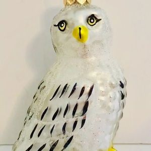 Polish Glass Snow White Arctic Owl Xmas Ornament